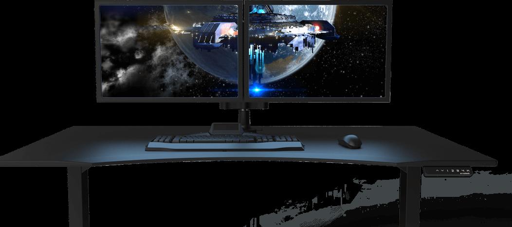 gaming desk monitor arms gaming desk pinterest gaming desk and desks. Black Bedroom Furniture Sets. Home Design Ideas