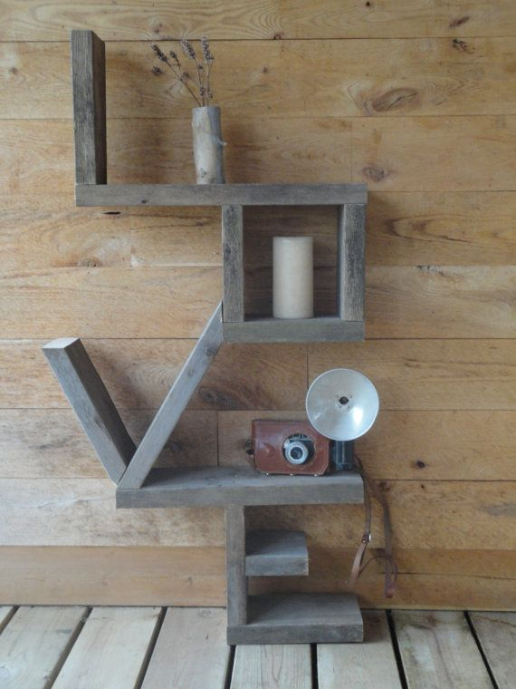 'Love Shelf' constructed of salvaged wood. This is an etsy link... but easy to diy?
