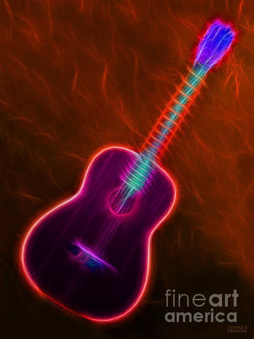 Country Neon Guitar Art Prints For Sale Fineartamerica