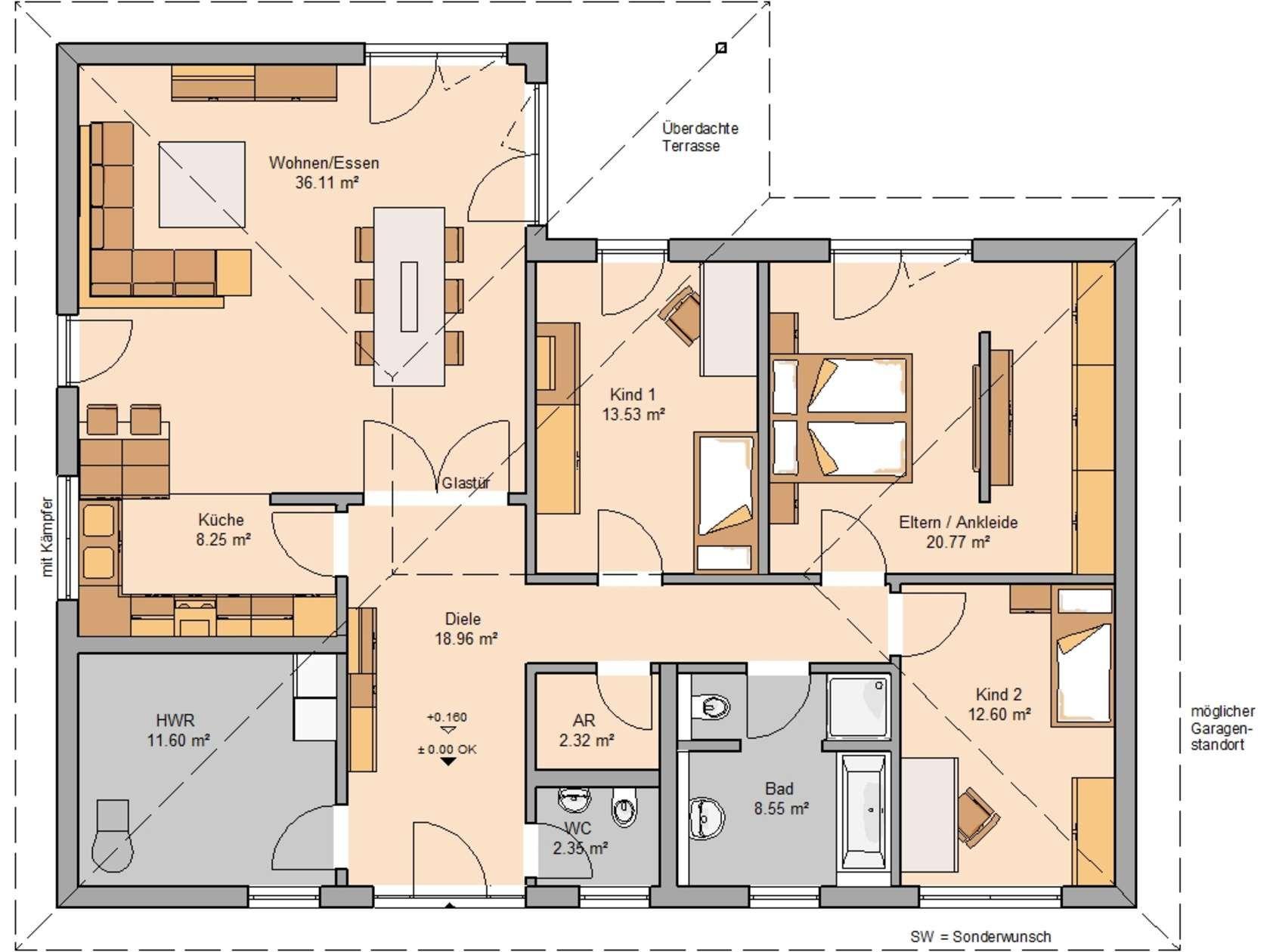 Winkelbungalow schu00f6nwalde bungalow grundriss haus for Haus bauen plan