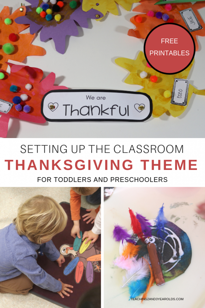 Setting Up the Thanksgiving Theme #preschoolclassroomsetup The thanksgiving theme is a good time to talk about what you are thankful for, as well as having fun with turkey crafts and pretend play. Come see how we've set up our toddler and preschool classroom! #Thanksgiving #theme #classroom #homeschool #toddler #preschool #printables #fall #lessonplans #curriculum #age2 #age3 #teaching2and3yearolds #preschoolclassroomsetup