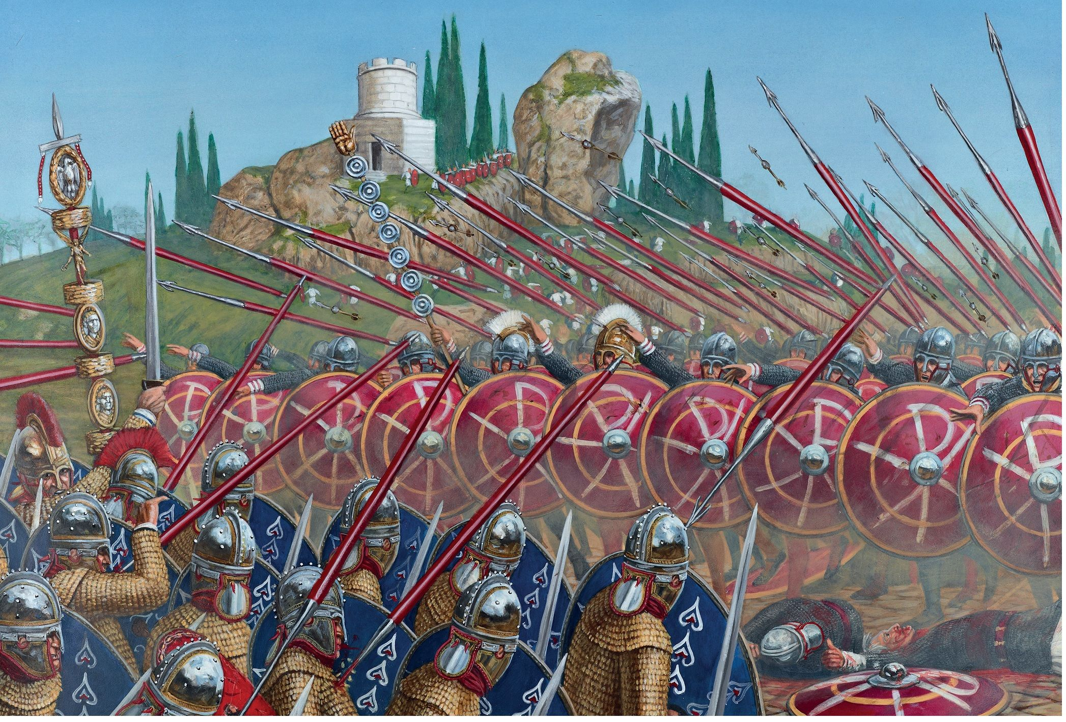 Battle of the Milvian Bridge. thei nfantry of Constantine, wearing on their…