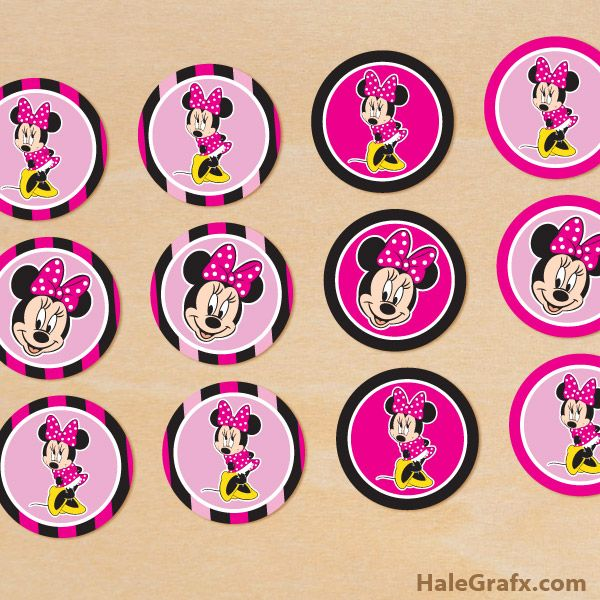 Free Printable Minnie Mouse Cupcake Toppers Minnie Mouse Cupcake Toppers Minnie Mouse Printables Minnie Mouse Party