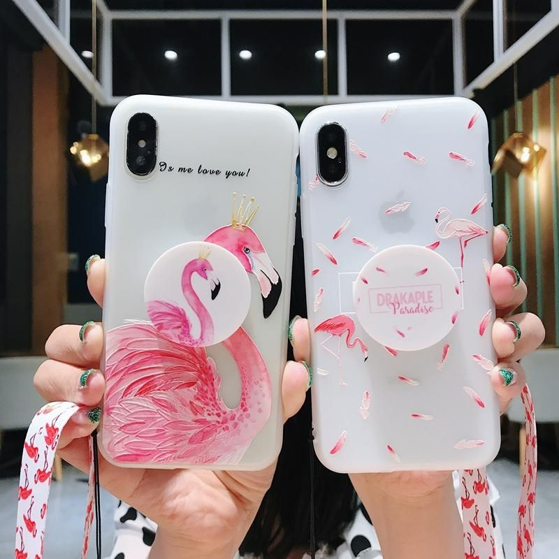 new concept 4f551 c2f41 Flamingo theme iPhoneXS max case with popsocket and lanyard XS XR X ...