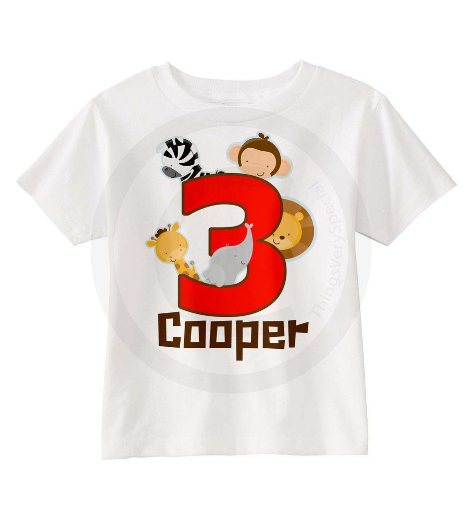 Boys Three Year Old Jungle Birthday Shirt With Name Third Personalized Theme 08302016c
