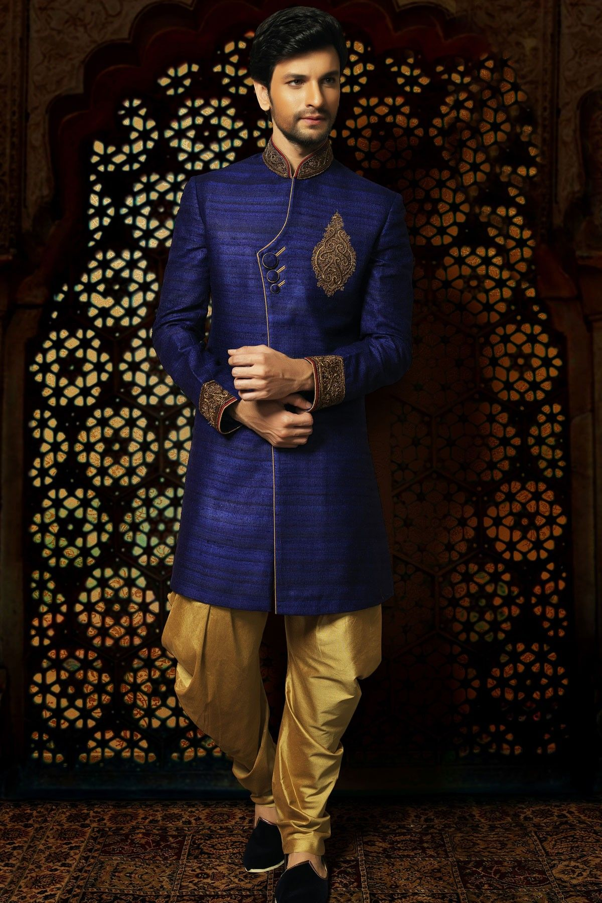 Samayakk Royal Blue & Golden Sherwani Samayakk,