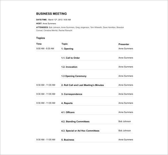Business meeting agendas can range anywhere from office relocation - meeting agenda template word