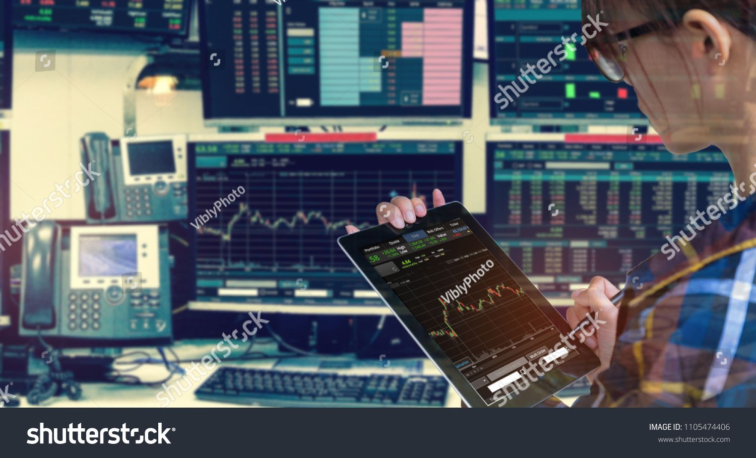 Double Exposure Of Business Woman Holding Tablet For Stock Market Quotes And Chart In Monitor Computer Ro Stock Market Quotes Stock Screener Best Stocks To Buy