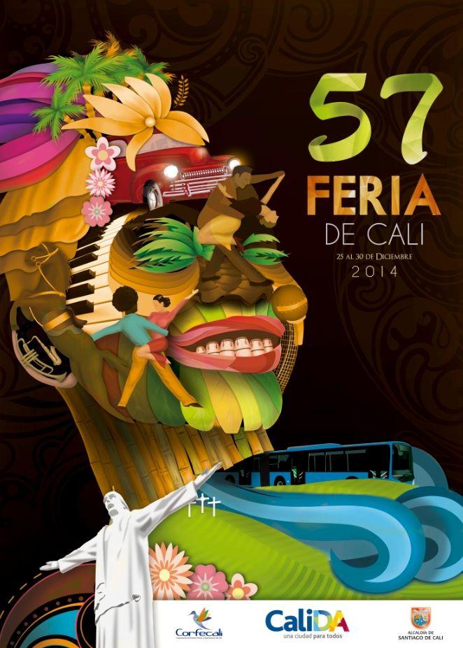 Afiche Oficial de la versión 57 #FeriadeCali2014 Tercer Puesto #OrgullodeCali