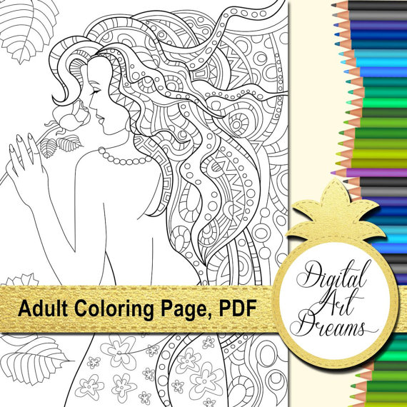 Rose Lady Coloring Page A4 Printable Coloring Pages For Adults