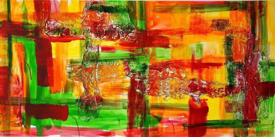 acryl collage mit alufolie auf leinwand canvas modern art abstract art schwamm technik. Black Bedroom Furniture Sets. Home Design Ideas