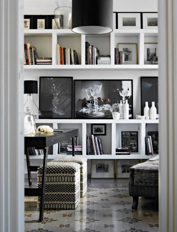 Chic Modern White Bookcase With Black Photography Bookshelves
