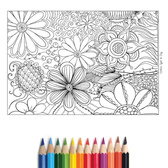 Floral Colouring Page Vector Fully Scalable Pdf By Curioustype Coloring Pages Coloring Books Floral