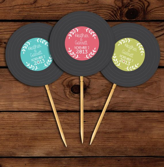 Custom Vinyl Record Printable Cupcake Toppers Birthday