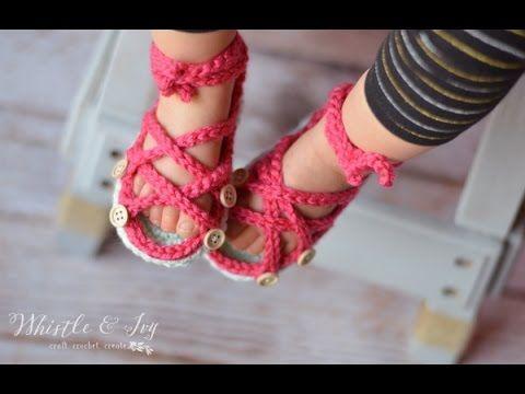 Button Gladiator Sandals Crochet Pattern - YouTube | zapatitos y ...