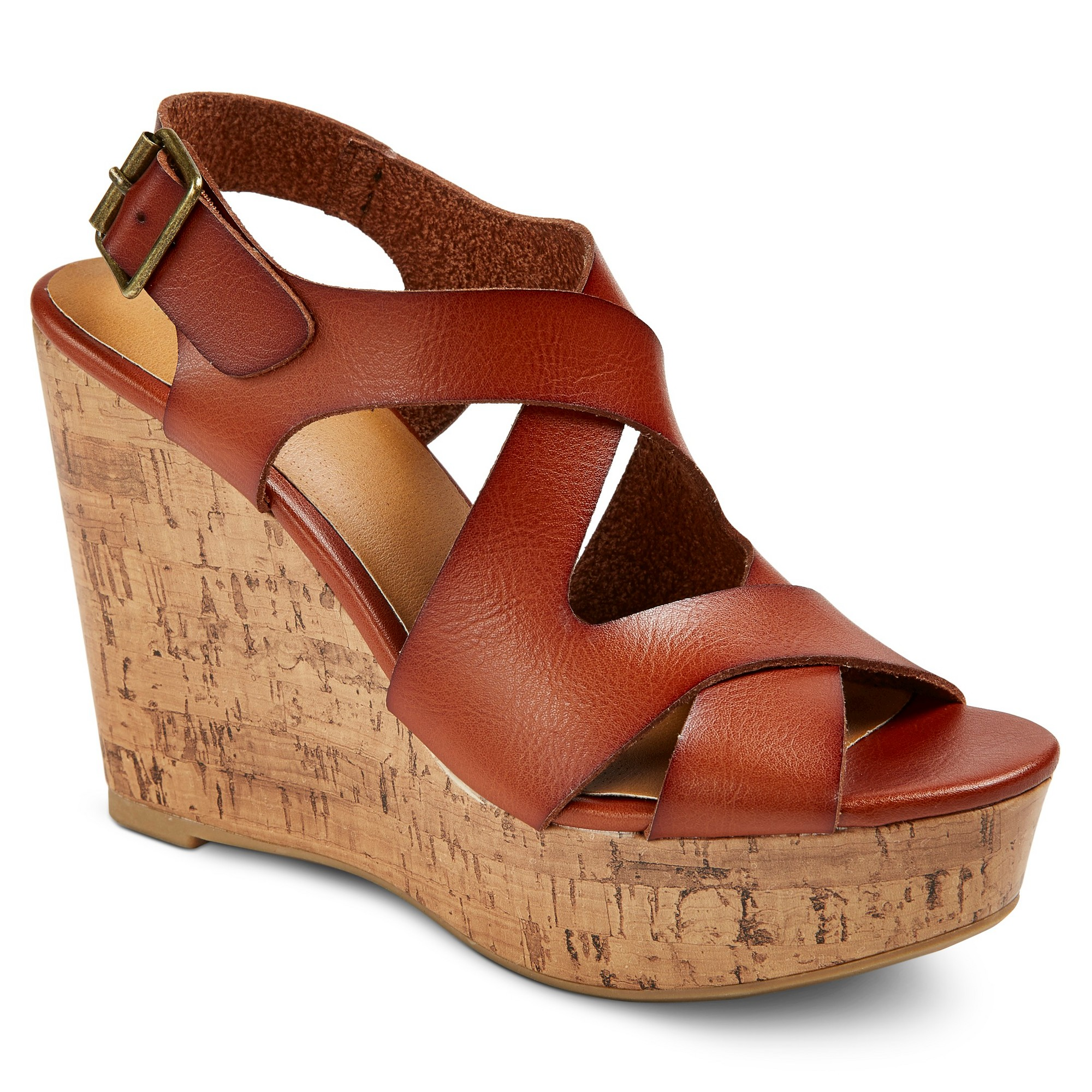 3ab48235ded0 Women s Wide Width Megan Quarter Strap Sandals - Mossimo Supply Co. Cognac  (Red) 11W