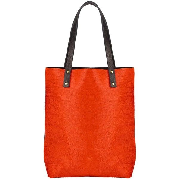 Sarah Baily - Lottie Shopper Orange (£260) ❤ liked on Polyvore featuring bags, handbags, tote bags, genuine leather handbags, shopping tote bags, leather shopping bag, leather shopper and leather handbags