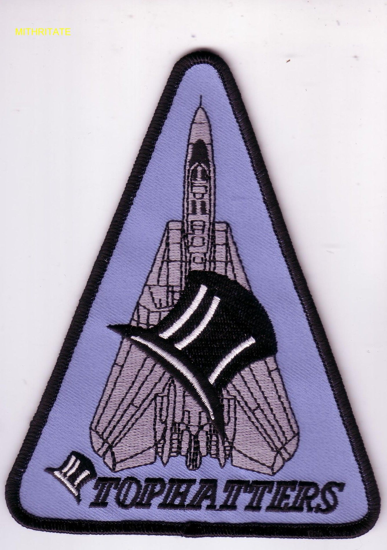 """VF-14 TOPHATTERS 5"""" TShoulder Triangle With Large Tophat and F-14"""