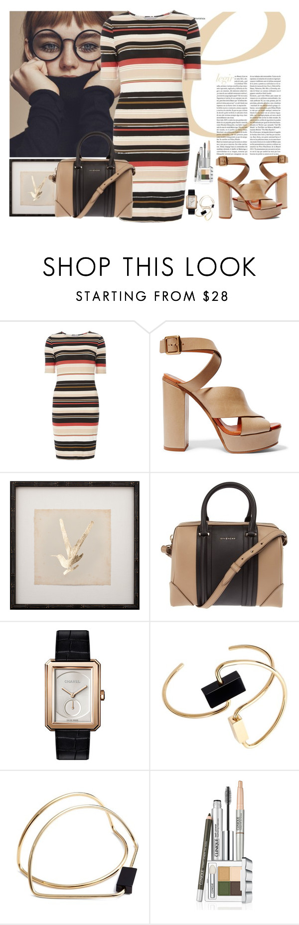 """Stripy and beige."" by petitemia ❤ liked on Polyvore featuring Dorothy Perkins, Chloé, Givenchy, Chanel, Roksanda and Clinique"
