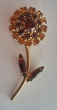 Vintage Amber Citrine Rootbeer Navette Autumn Leaf Rhinestone Flower Brooch Pin