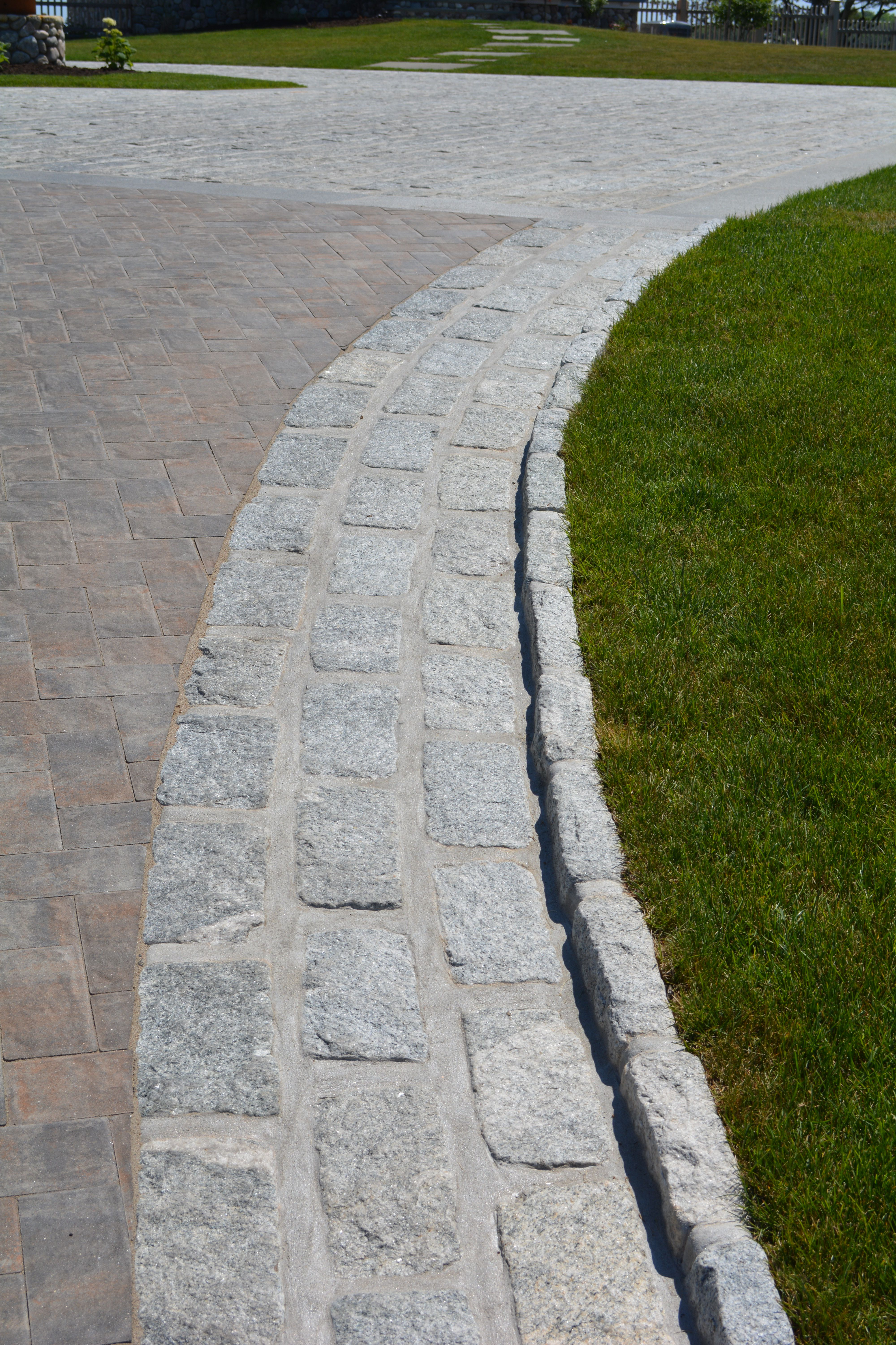 Round top path edgings for garden patio or driveway.