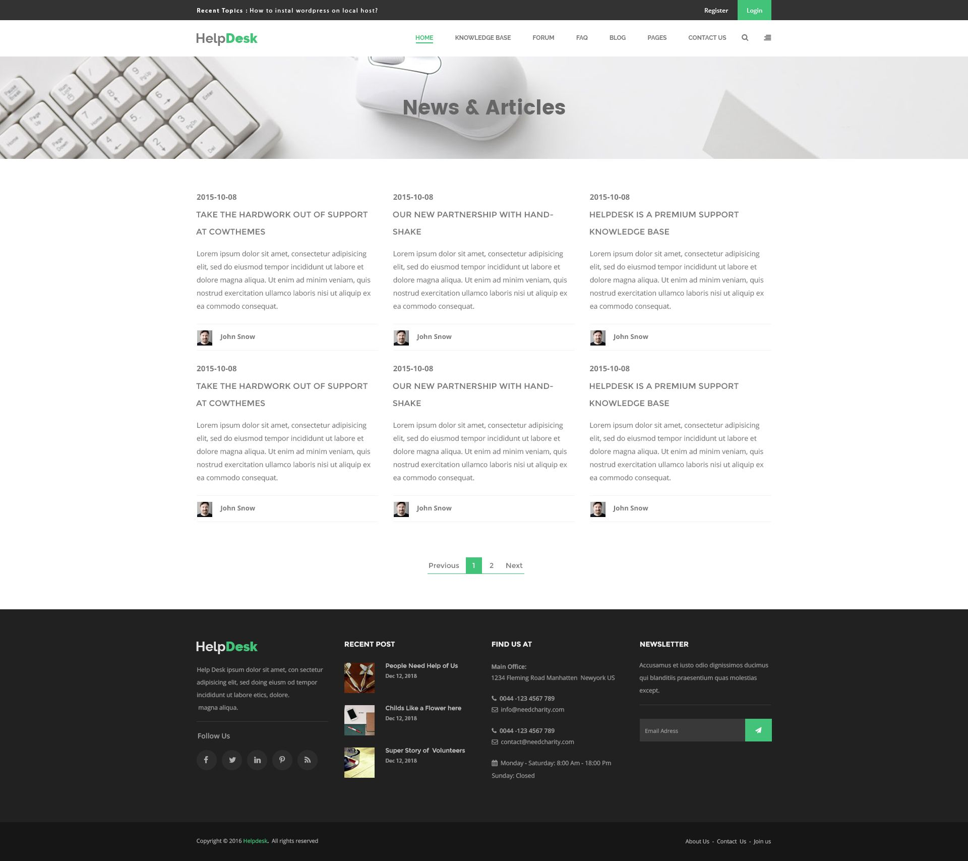 HelpDesk is a modern and unique PSD template designed for Knowledge ...