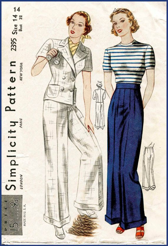 1930s 30s vintage sailor sewing pattern cuffed pants wide leg ...