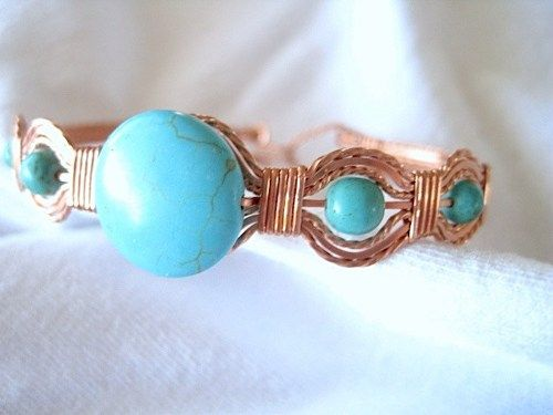 "Turquoise Beaded Copper Metal Wire Wrapped Bracelet Handmade 7"" to 7-1/2"