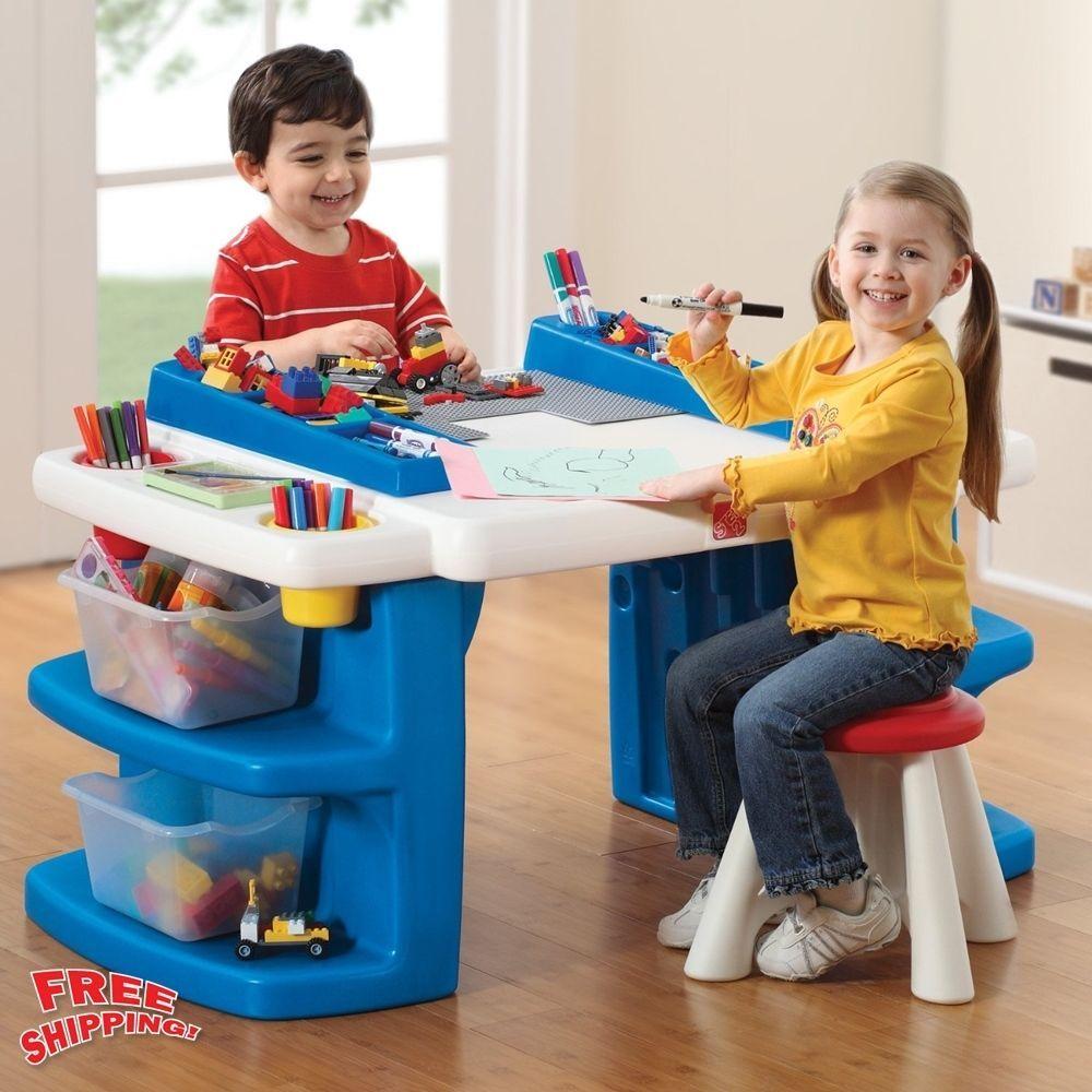 step2 kids activity desk table lego building mega block. Black Bedroom Furniture Sets. Home Design Ideas