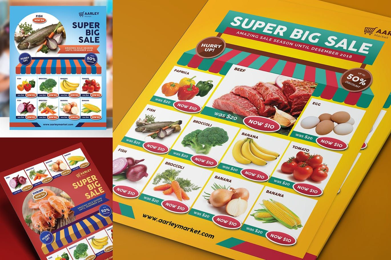 Supermarket Product Promotion Flyer Template Psd Letter Size 8 5 11 Inches Bleed Area 3 Design Variation Cmyk 300 Dpi Downoad