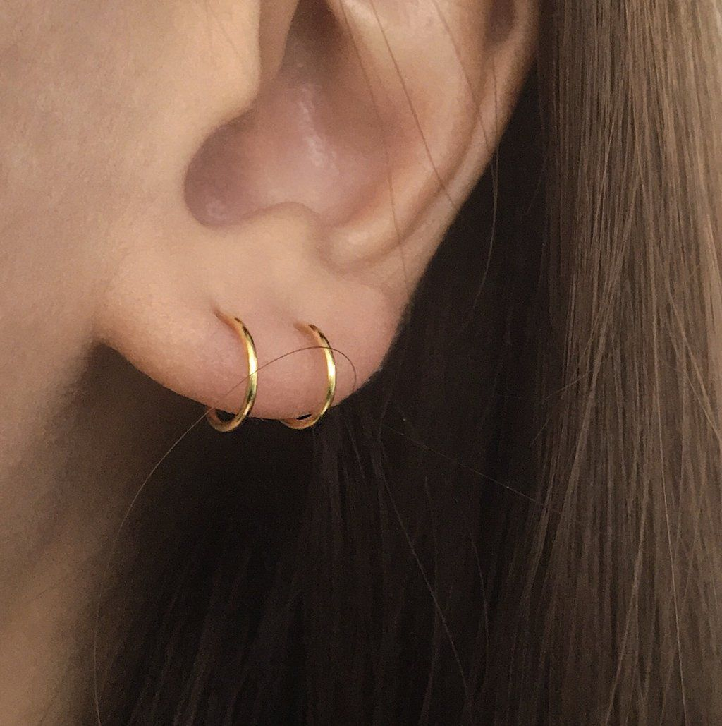 Two nose piercing  FILAMENT Double Hoops in Gold  jewelry  Pinterest  Jewelry Ear