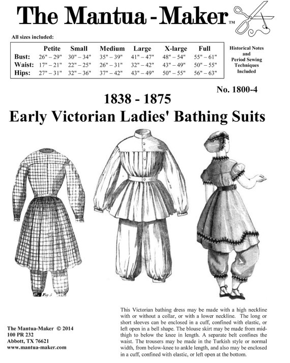 Victorian Bathing Suit Pattern: Multi Size Historical Sewing Pattern ...