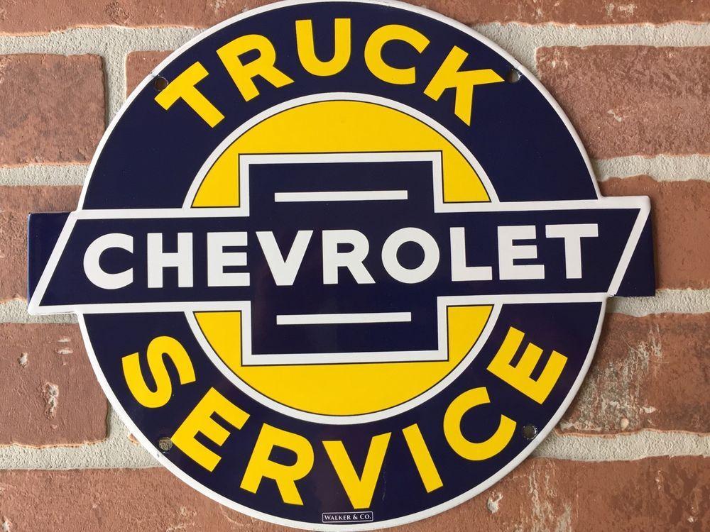 CHEVROLET TRUCKS SERVICE PORCELAIN DEALERSHIP SIGN. WALKER & Co. BUY