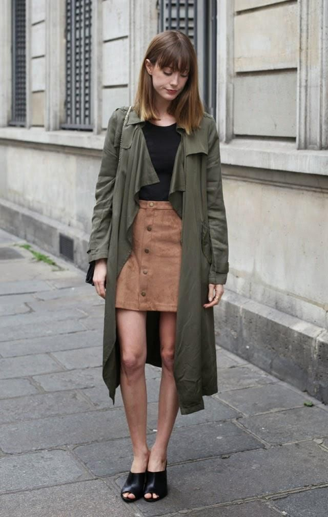 9207791cafa3 Ways to Wear Spring s Biggest Trend  The Brown Suede Skirt - olive green  jacket + brown suede skirt