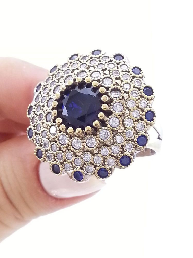 Turkish 925 Sterling Silver Hurrem Sultan Sapphire Popular Ladies Ring Size 8 #DirectSilver #Cocktail