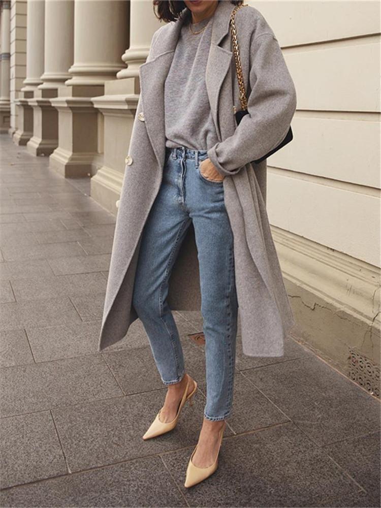Elegant Stylish Versatile Collar Double-Breasted Long-Sleeved Coats