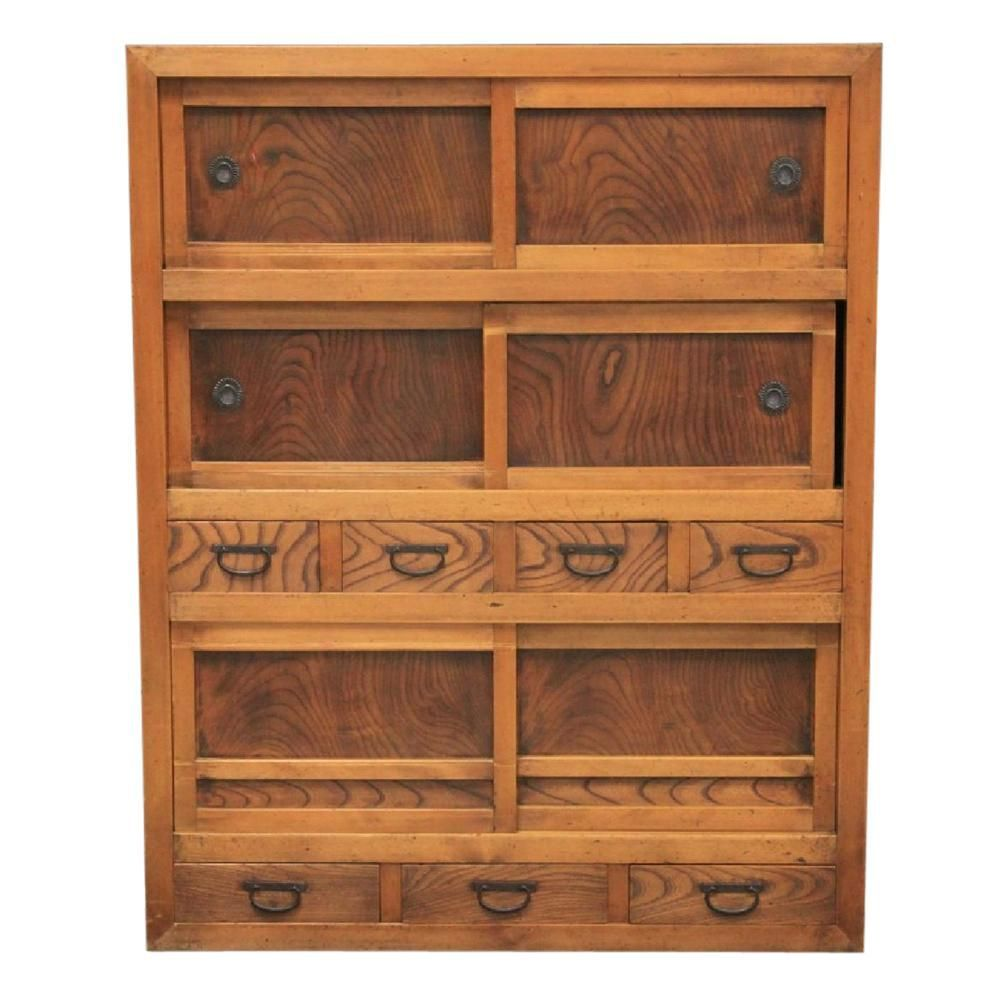 Antique Japanese Cabinet - Antique Japanese Cabinet Japanese, Sliding Door And Drawers