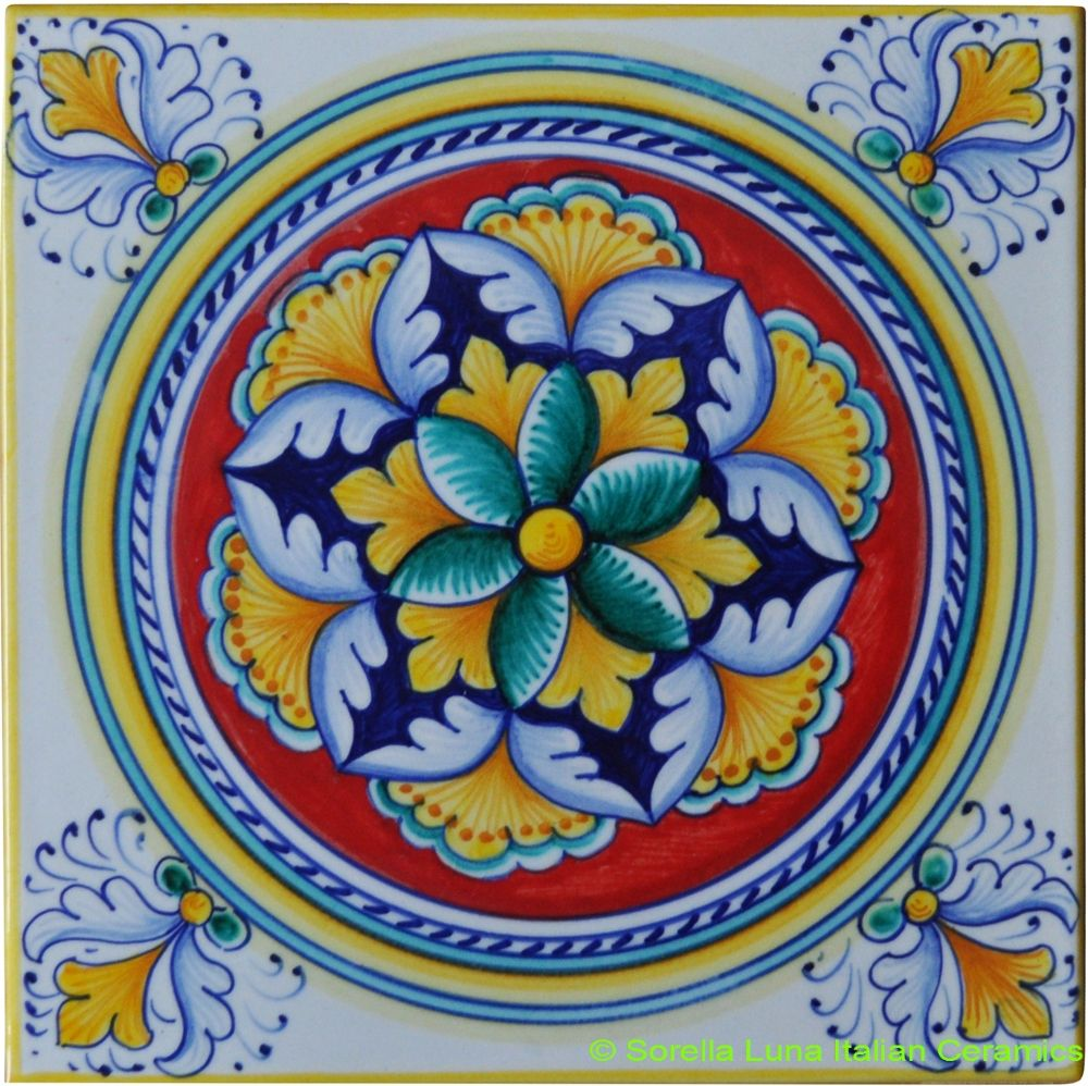 Hand painted italian ceramic tiles tuscany illustratiive hand painted italian ceramic tiles dailygadgetfo Images