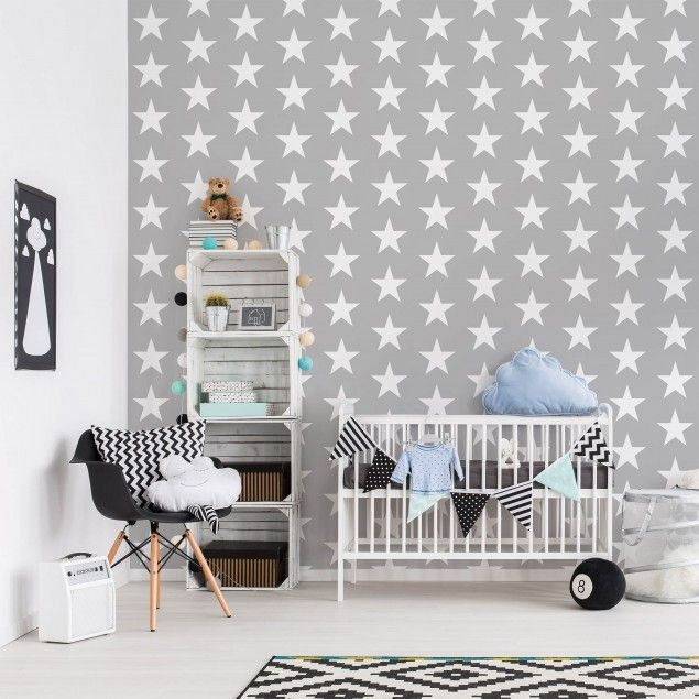 mustertapete f r kinderzimmer wei e sterne auf grauen hintergrund vliestapete quadrat. Black Bedroom Furniture Sets. Home Design Ideas