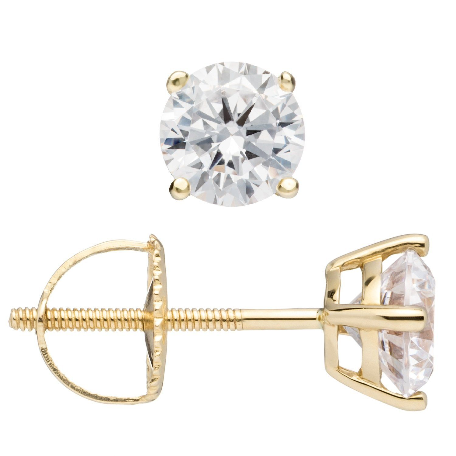 76068a39f0b 14K Solid Yellow Gold Round Cut Cubic Zirconia Stud Earrings