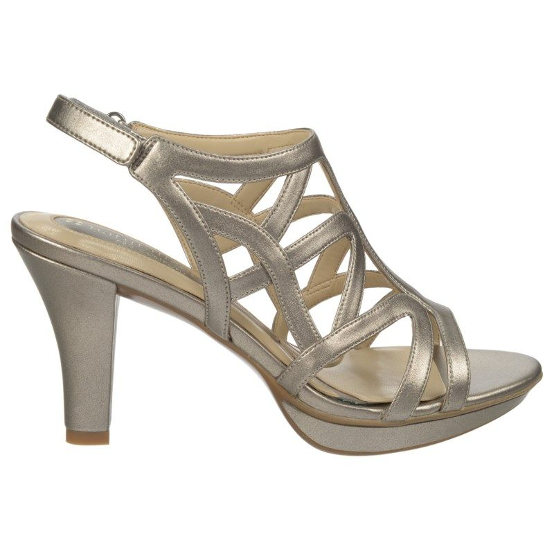 e8d755582293 Naturalizer Women s Danya Narrow Medium Wide Dress Sandals (Pewter  Pearlized) - 11.0 N