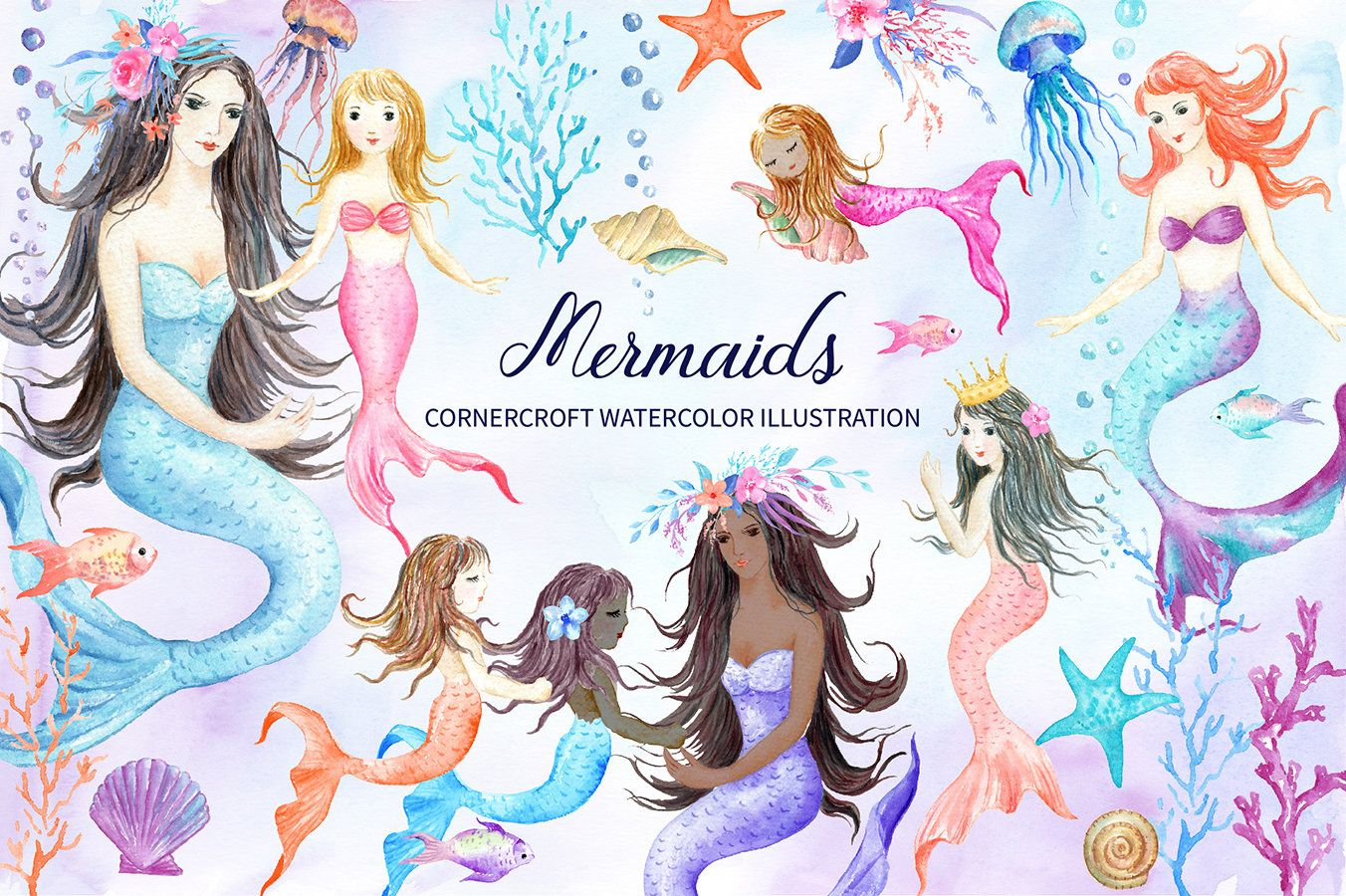 Watercolor mermaid illustration including mother daughter | Etsy