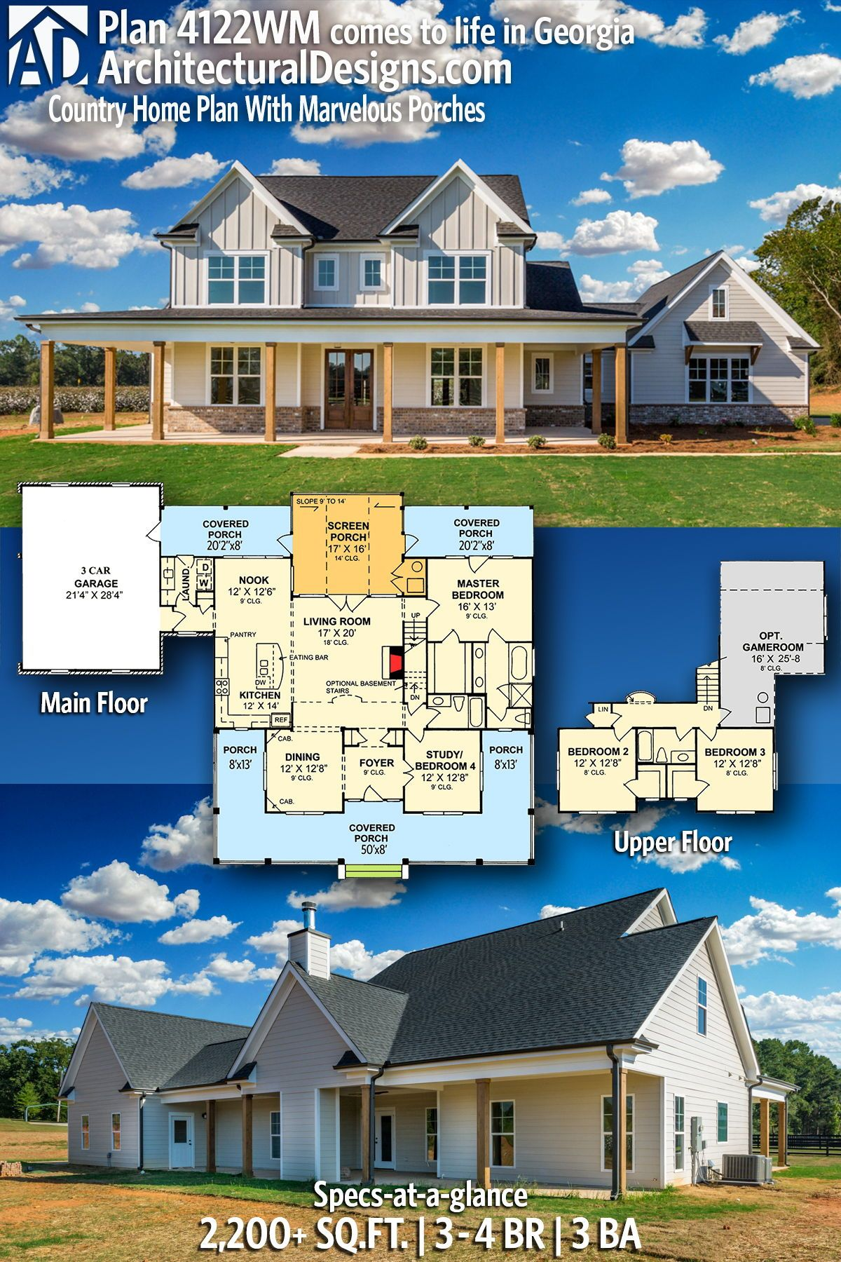 Architectural Designs House Plan 4122WM client built in