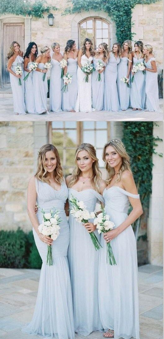 62e37f685fe 2019 Mismatched Different Styles Chiffon Light Blue Sexy Cheap Bridesmaid  Dresses