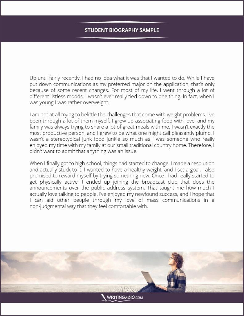 Biography Template for Students New Student Biography Example Bio