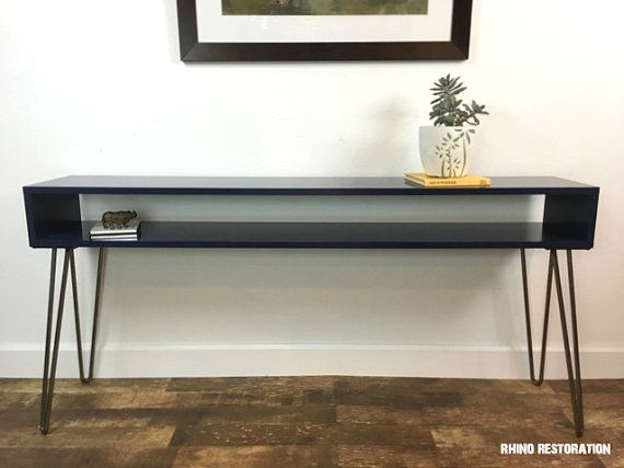 60 Wide Mid Century Modern Console Table With Hairpin Legs