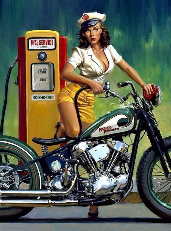 Harley Davidson Motorcycle Sexy Pinup Girl Man Cave Art Busty Biker Chic Sexy Photo Print Pinup Poster Motorcycle Picture Vintage Art 700