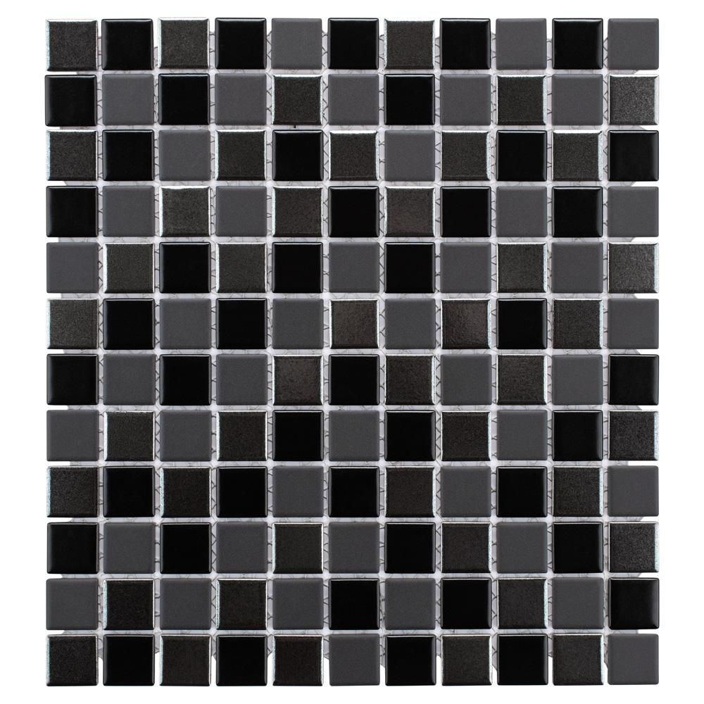 Merola Tile Trinity Black 11 3 4 In X 12 3 4 In X 5 Mm Porcelain Mosaic Tile 10 62 Sq Ft Case Wtctribk Mosaic Wall Tiles Mosaic Tiles Mosaic Wall
