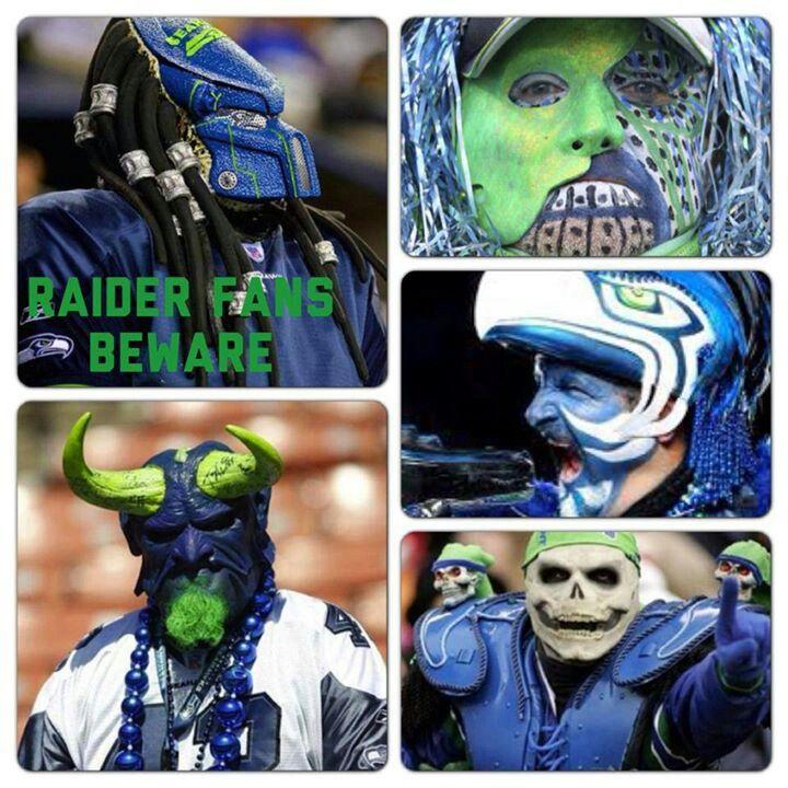 b5b331630ff Seattle Seahawks Super Fans. Upper left  Sea Predator. Lower left   HawkFiend  Lower right  Skull Hawk. Middle right Seahawk Rooster aka Kieth  Gustin.