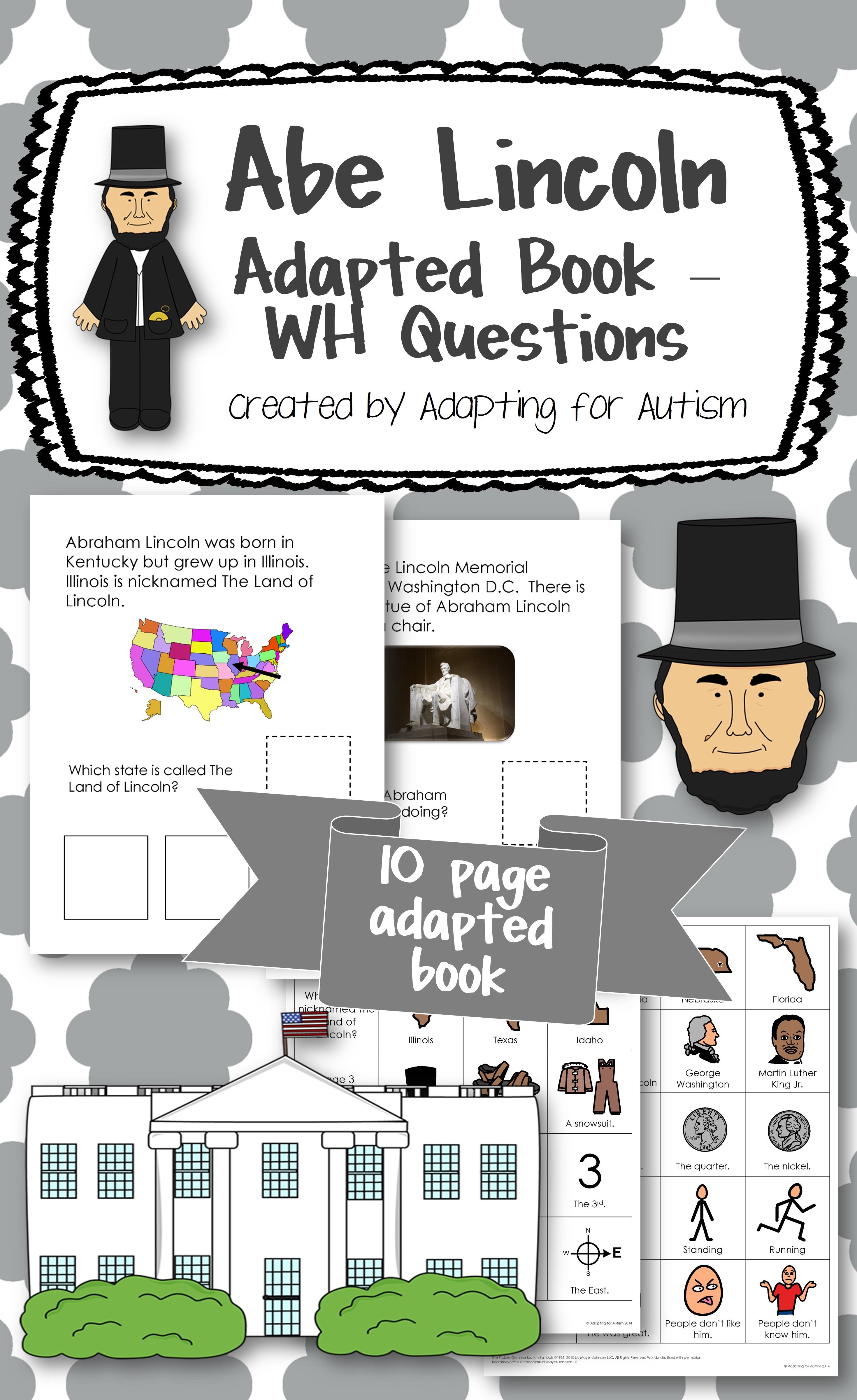 Abraham Lincoln Adapted Book For Special Education And